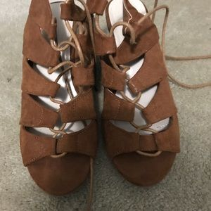Suede Lace up taupe sandals with 2 in. heel